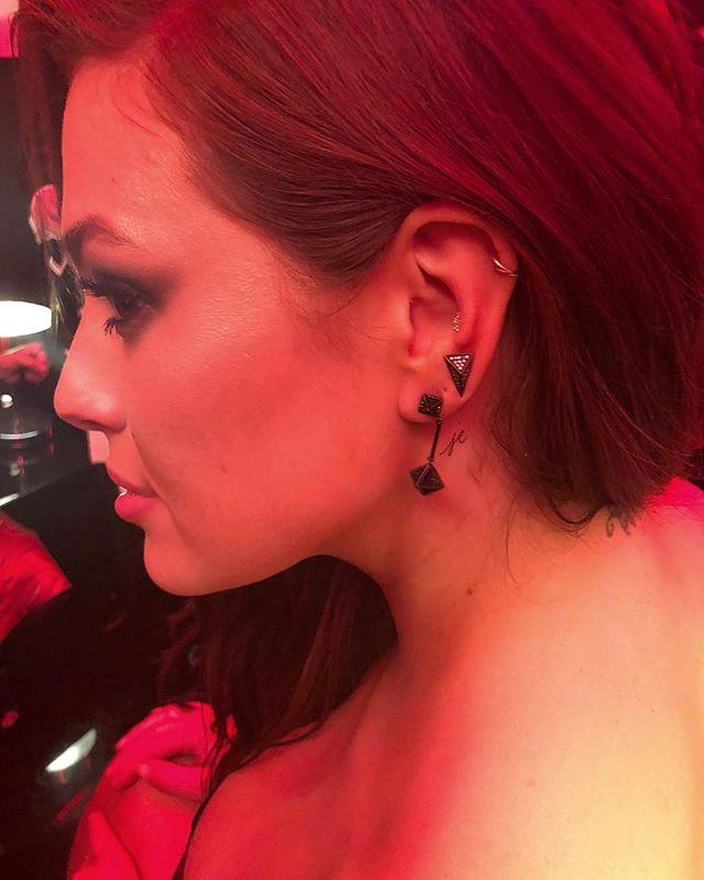 At a Revlon party, model Ashley Graham came away with quite the party favour—a brand new neck tattoo of her husband, Justin Ervin's, initials. Celebrity tattooist Jon Boy was on hand to do the inking at the party.