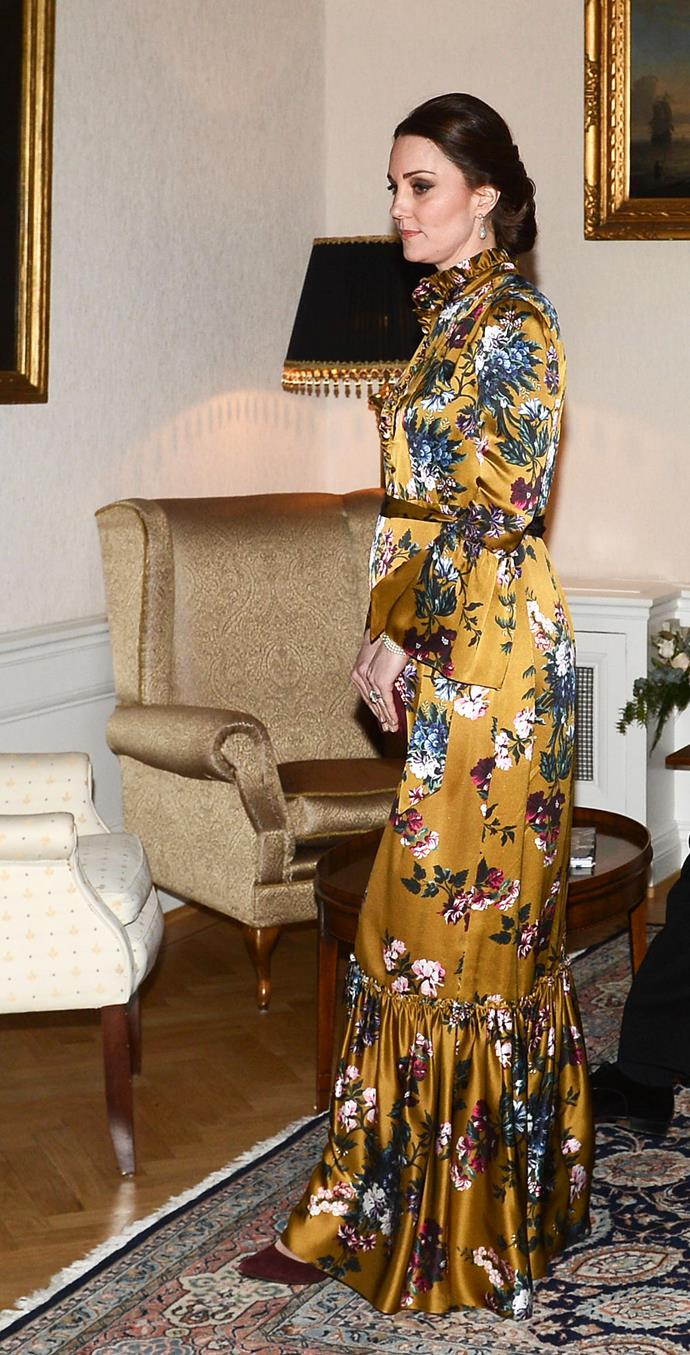 Pregnant Kate Middleton wears this divine $3,400 Erdem dress for dinner with Prince William and the Swedish royal family.