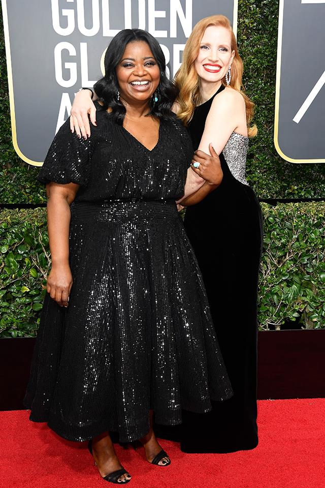 Octavia Spencer and Jessica Chastain at the 2018 Golden Globes