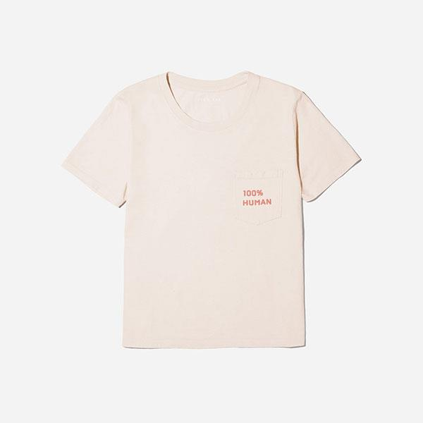 "'100% Human' T-shirt, $28 at [Everlane](https://www.everlane.com/products/womens-human-ctn-box-sprint-mutedpinkpink?collection=100-percent-human|target=""_blank""