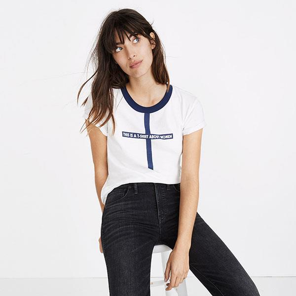 "'This Is A T-shirt About Women' T-Shirt, $89 at [Madewell](https://www.madewell.com/au/p/H4541?srcCode=MWAFFI00001&utm_source=affiliate&utm_medium=Skimlinks.com&siteId=TnL5HPStwNw-zdN.LaOSVK68Hq2tIoJd_Q|target=""_blank""|rel=""nofollow"")"