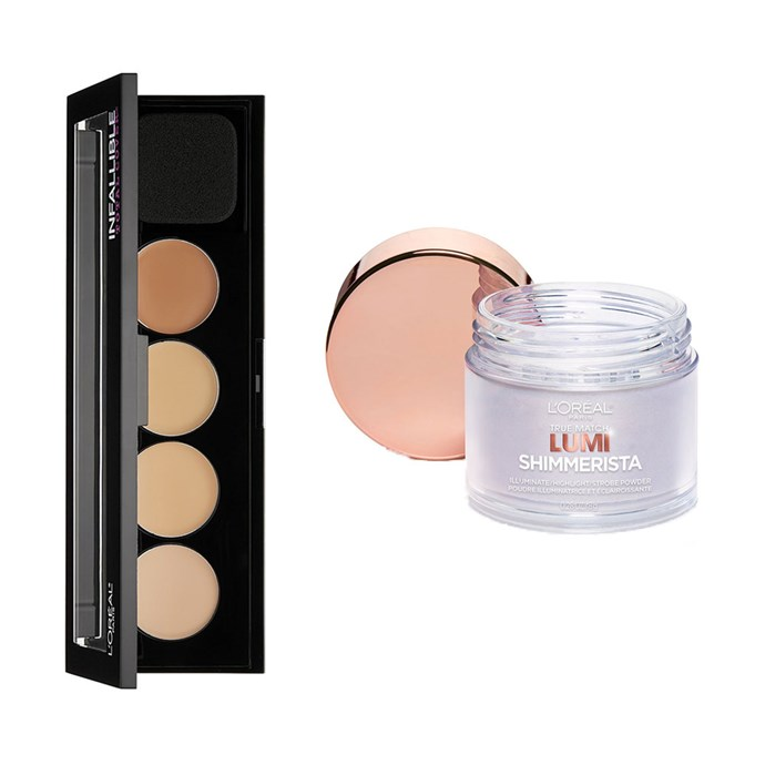 "L'Oreal Paris Cosmetics Infallible Total Cover Concealing and Contour Kit, $12 at [Amazon](https://www.amazon.com/LOreal-Paris-Cosmetics-Infallible-Concealing/dp/B01LZM1YVI?th=1|target=""_blank""