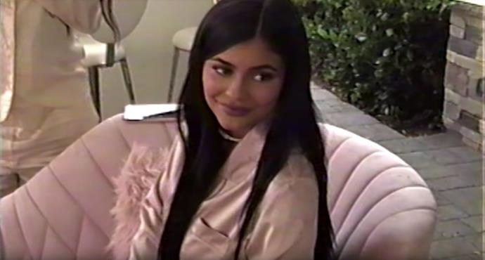 Kylie Jenner smiles at a friend at her own baby shower.