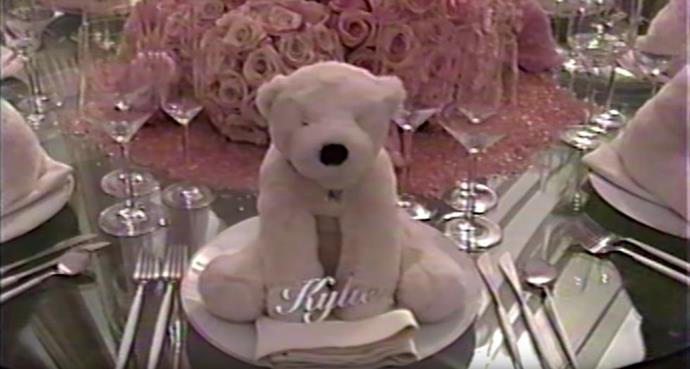 Each guest at Kylie Jenner's baby shower received a teddy bear and personalised sign at the table.