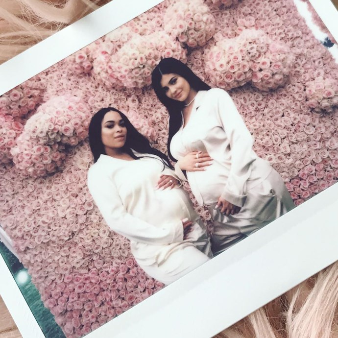 Heather Sanders shares a poloroid picture of herself and Kylie Jenner (and their matching bumps) at the beautiful baby shower.