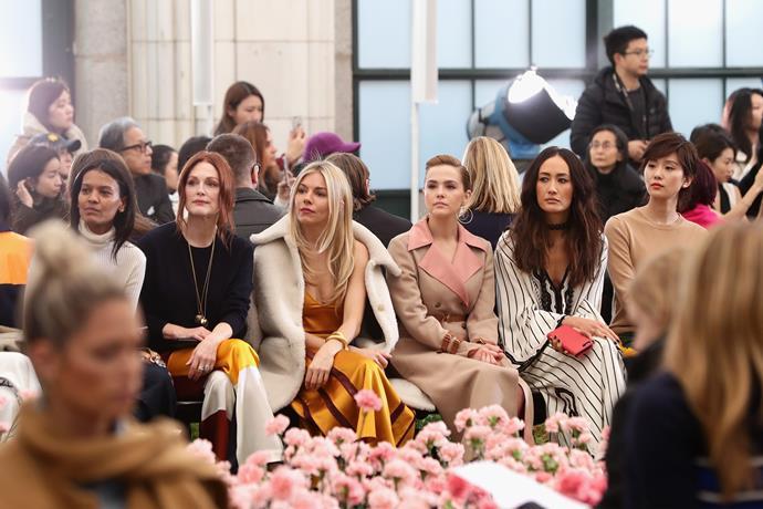 Liya Kebede, Julianne Moore, Sienna Miller, Zoey Deutch, Maggie Q and Liu Shishi attend the Tory Burch autumn/winter '18 NYFW show.