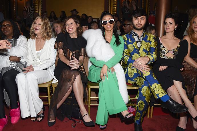Whoopi Goldberg, Meg Ryan, Molly Shannon, Cardi Band Jaimie Alexander at Christian Siriano.
