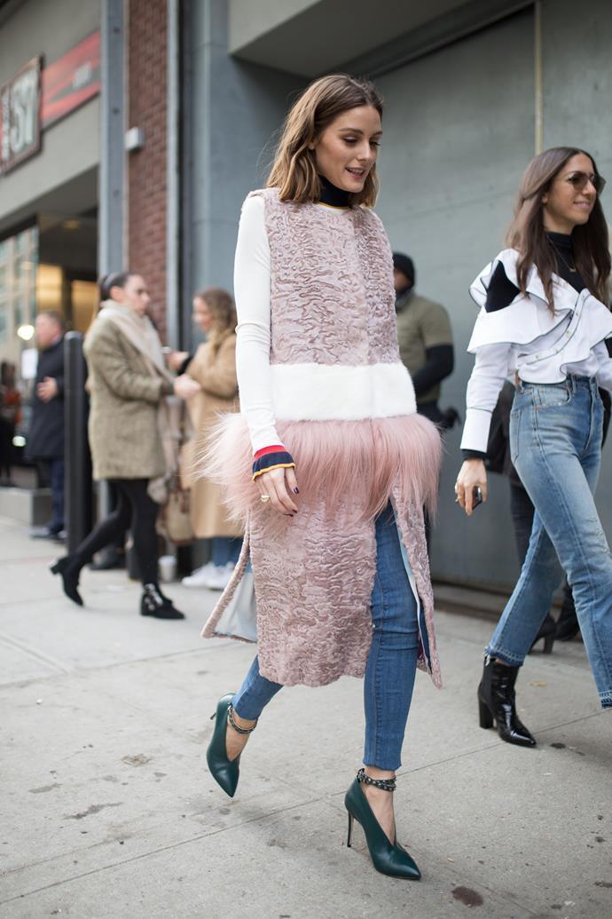 Olivia Palermo en route to the Self-Portrait fashion show.