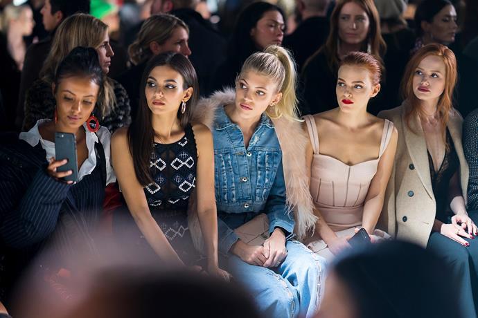 Maya Jama, Victoria Justice, Devon Windsor, Madeline Brewer and Madeline Petsch at the Jonathan Simkhai fashion show.