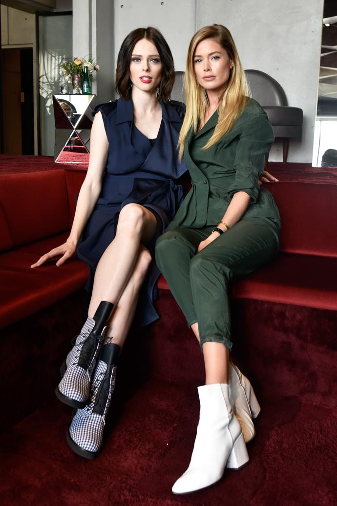 Doutzen Kroes and Coco Rocha relax in the Eithad Airways VIP lounge before watching the Jason Wu show.
