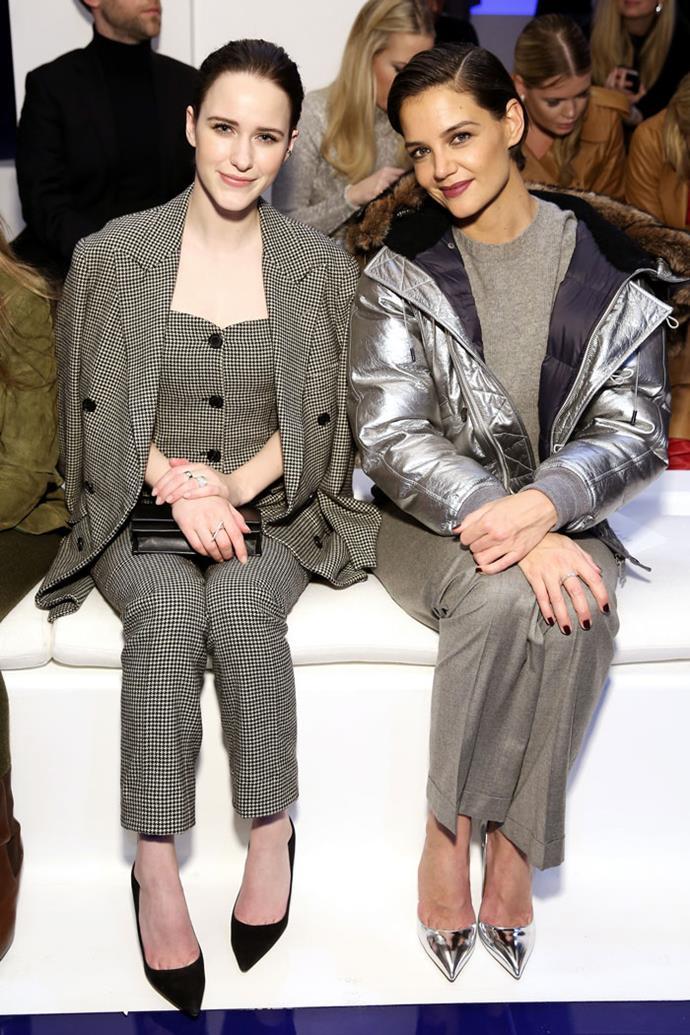 Rachel Brosnahan and Katie Holmes attend the Ralph Lauren autumn/winter '18 NYFW show.