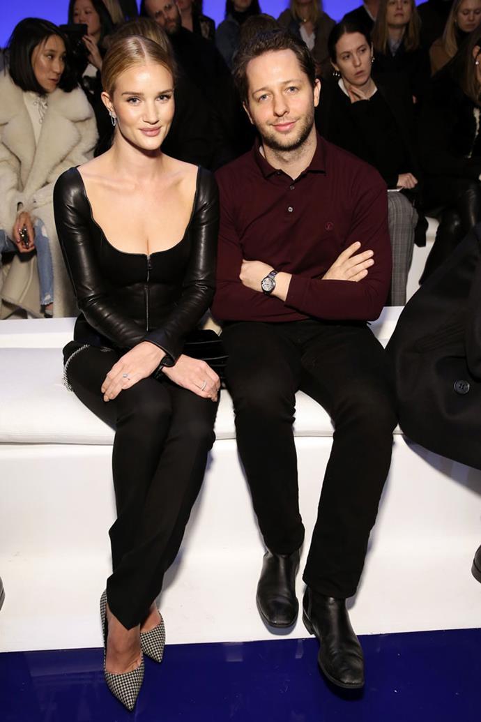 Rosie Huntington-Whiteley and Derek Blasberg attend the Ralph Lauren autumn/winter '18 NYFW show.