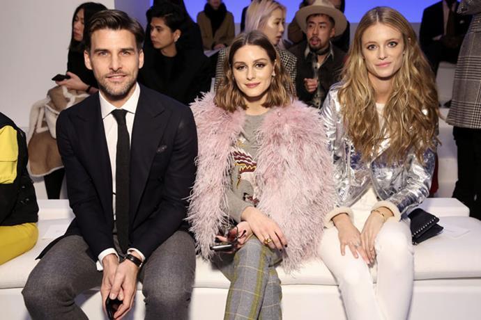Johannes Huebl, Olivia Palermo and Kate Bock attend the Ralph Lauren autumn/winter '18 NYFW show.