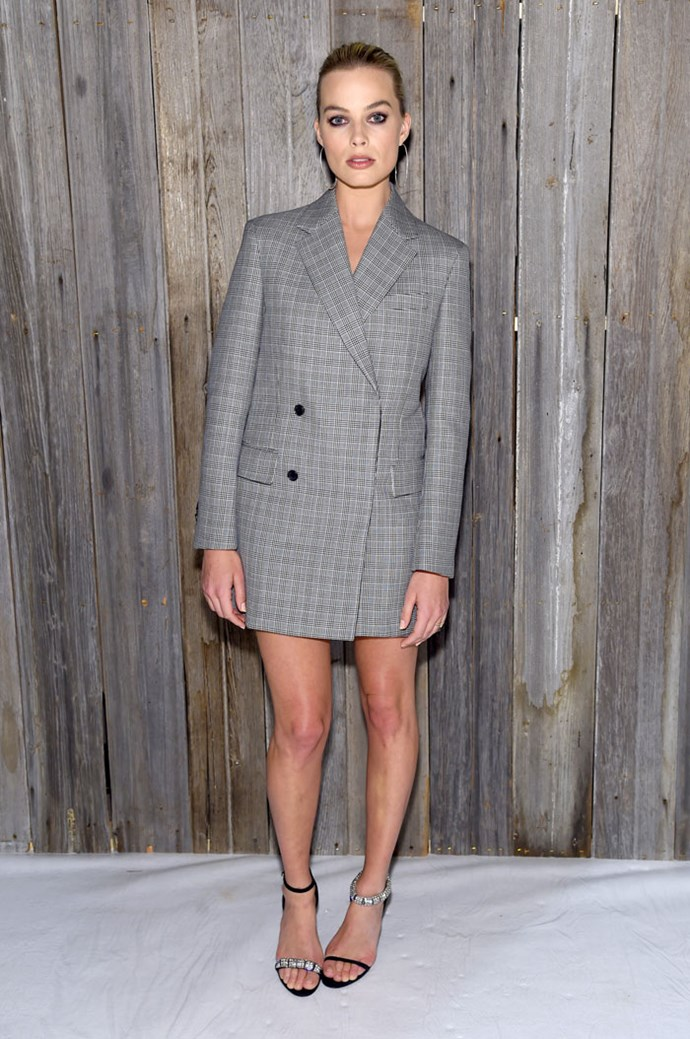 Margot Robbie wow-ed at New York Fashion Week wearing this Calvin Klein 'drazer' (blazer-dress) front row at the designer's show.