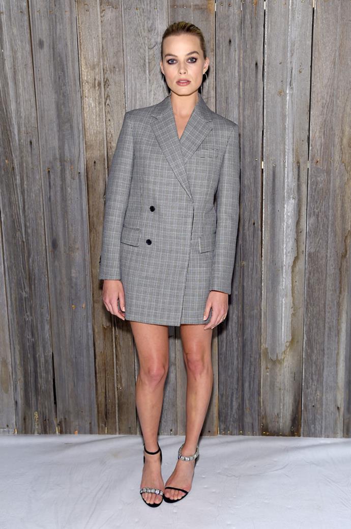 Margot Robbie wow-ed at New York Fashion Week wearing this Calvin Klein 'drazer' (blazer-dress) front row at the designer's show.
