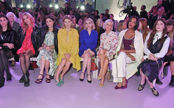 Julia Restoin Roitfeld, Mary Charteris, Amber Anderson, Emma Greenwell, Emma Roberts, Andrea Riseborough, Jourdan Dunn and Millie Brady attend the Mulberry autumn/winter '18.