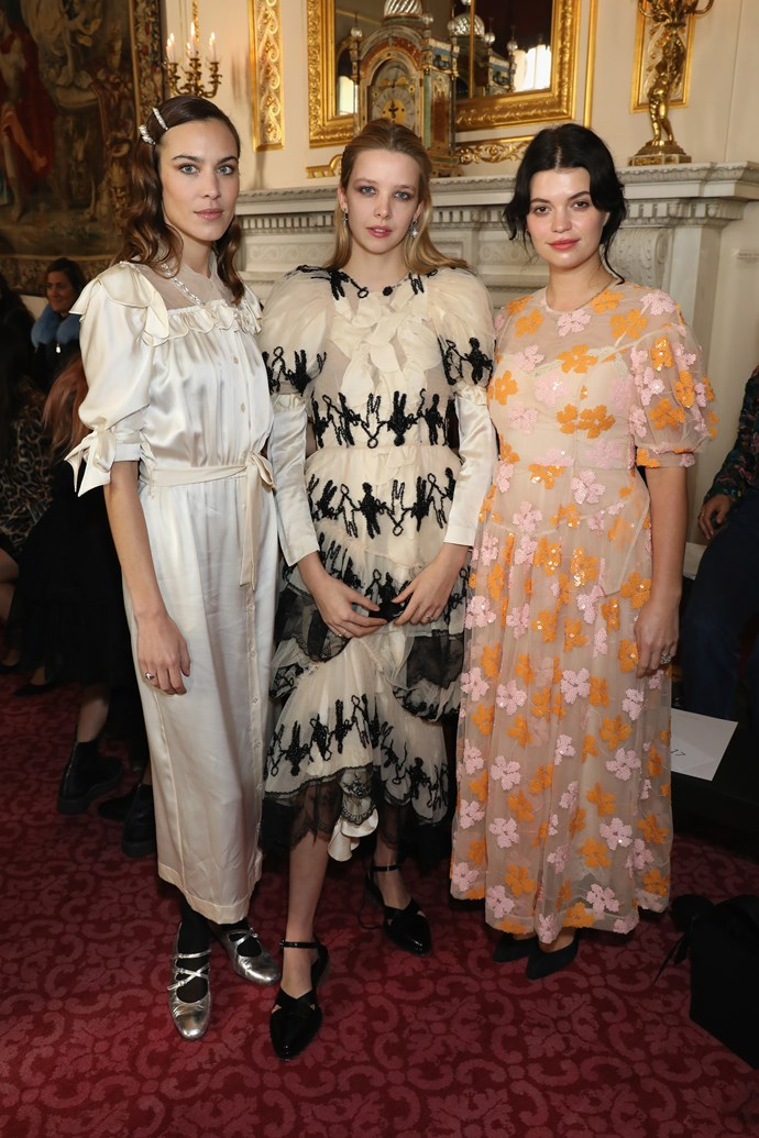 Alexa Chung, Greta Bellamacina and Pixie Geldof at the Simone Roche show during London Fashion Week.