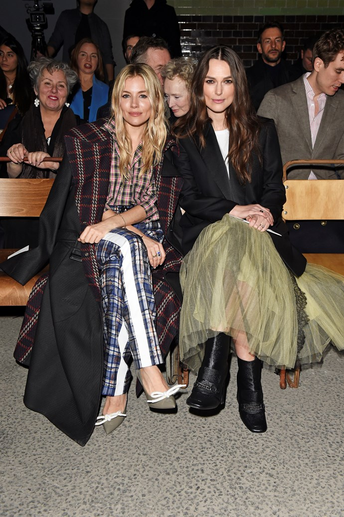 Sienna Miller and Keira Knightley sat at Burberry autumn/winter '18.