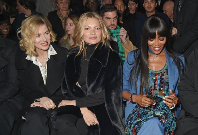 Naomi Watts, Kate Moss and Naomi Campbell at Burberry autumn/winter '18.