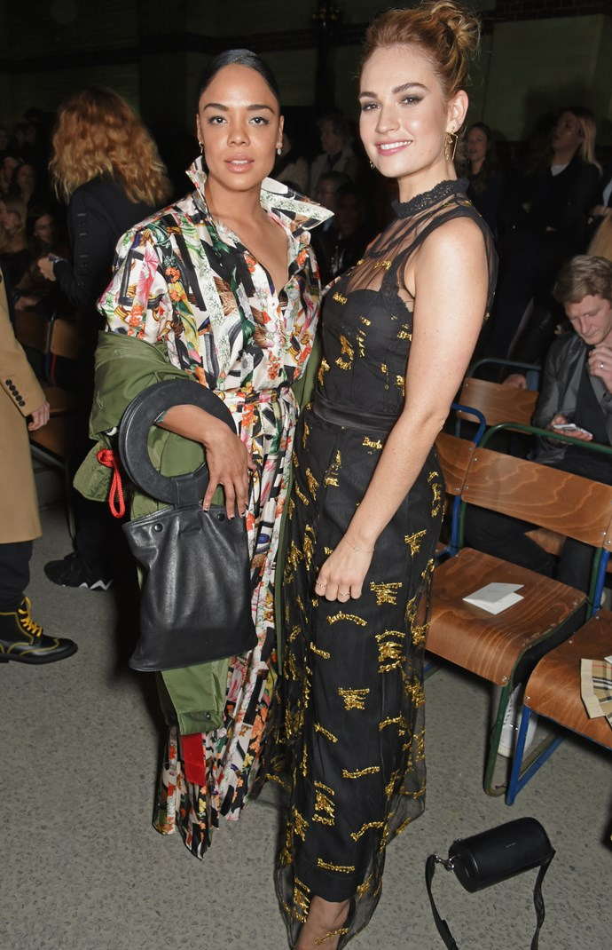 Tessa Thompson and Lily James at Burberry autumn/winter '18.