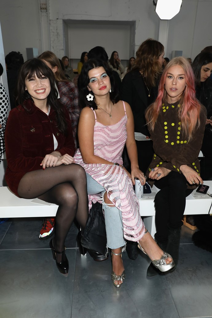 Daisy Lowe, Pixie Geldof and Lady Mary Charteris attend House of Holland autumn/winter '18 show at London Fashion Week.