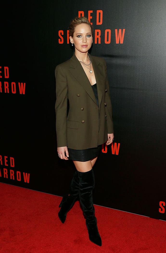 Jennifer Lawrence in Ralph Lauren and Alexander McQueen at the Washington DC screening of *Red Sparrow* on February 15, 2018