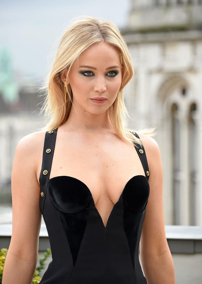 Jennifer Lawrence wearing Versace at the *Red Sparrow* in London on February 20, 2018