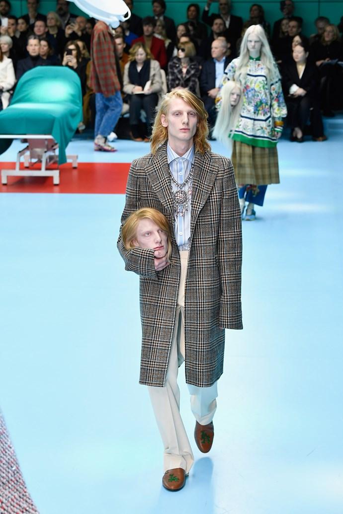 RIP Ned Stark.  Gucci autumn/winter '18 at Milan Fashion Week.