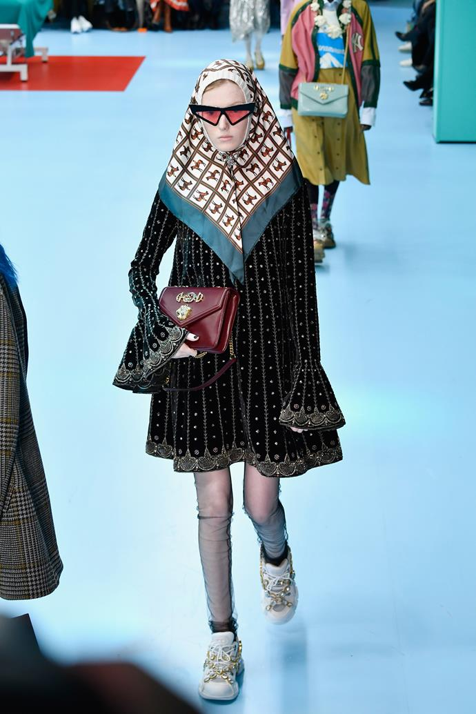 Lady Olenna, that you?  Gucci autumn/winter '18 at Milan Fashion Week.