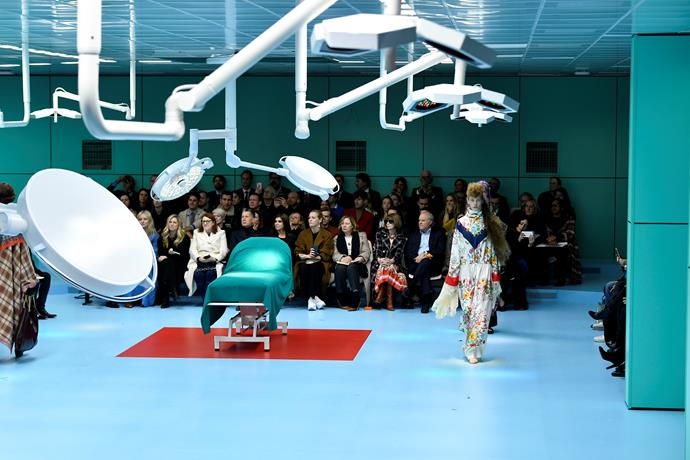 That operating table reminds us of the bed Jon Snow was brought back to life on.   Gucci autumn/winter '18 at Milan Fashion Week.