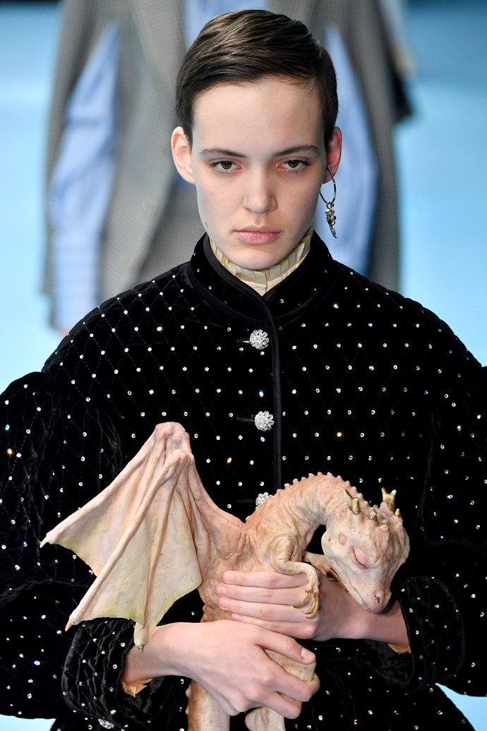 Note that Dragonglass stare.  Gucci autumn/winter '18 at Milan Fashion Week.