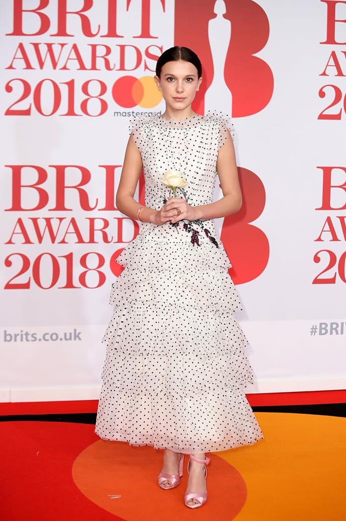 Wearing Rodarte at the Brit Awards on 21 February 2018.