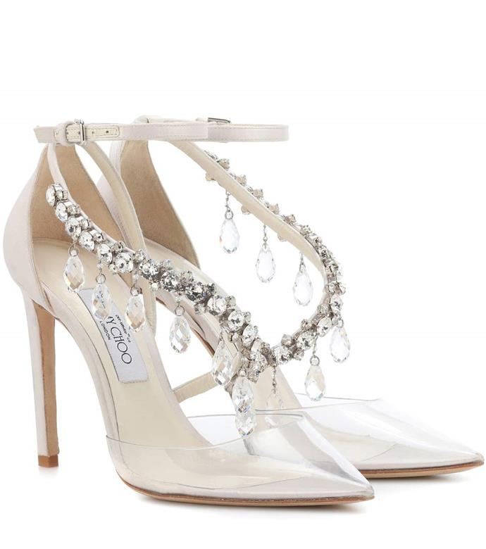 "Jimmy Choo x Off-White Victoria 100 Embellished Satin Pumps, $2,579 from [mytheresa.com](https://www.mytheresa.com/en-au/jimmy-choo-victoria-100-embellished-satin-pumps-957018.html|target=""_blank"")"