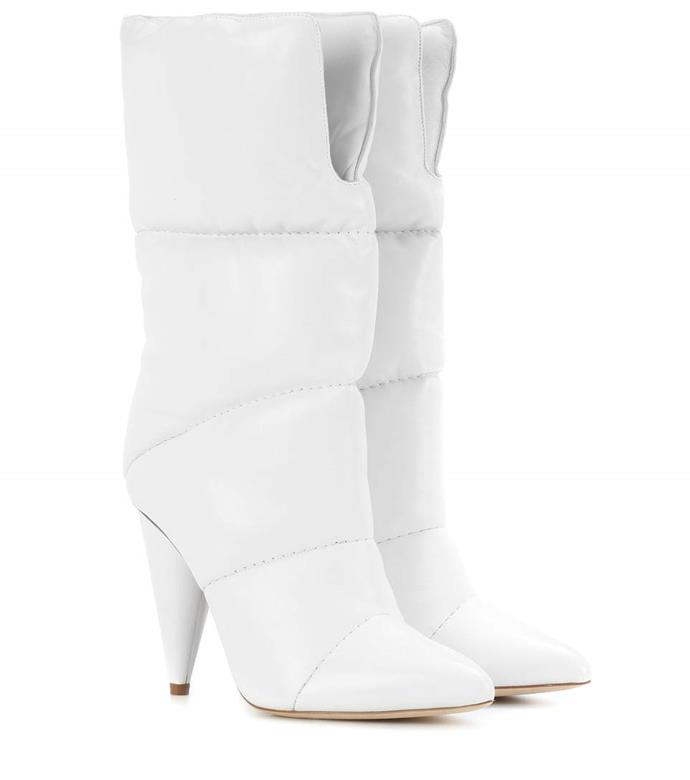 "Jimmy Choo x Off-White Sara 100 Leather Boots, $1,909 from [mytheresa.com](https://www.mytheresa.com/en-au/jimmy-choo-sara-100-leather-boots-956960.html|target=""_blank"")"
