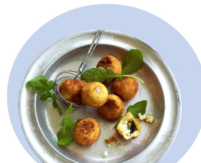 "For a grown-up take on potato gems, try these crispy spinach and fetta-spiked party dippers. View the recipe [here](http://www.foodtolove.com.au/recipes/feta-and-spinach-stuffed-potato-balls-25519|target=""_blank"")."