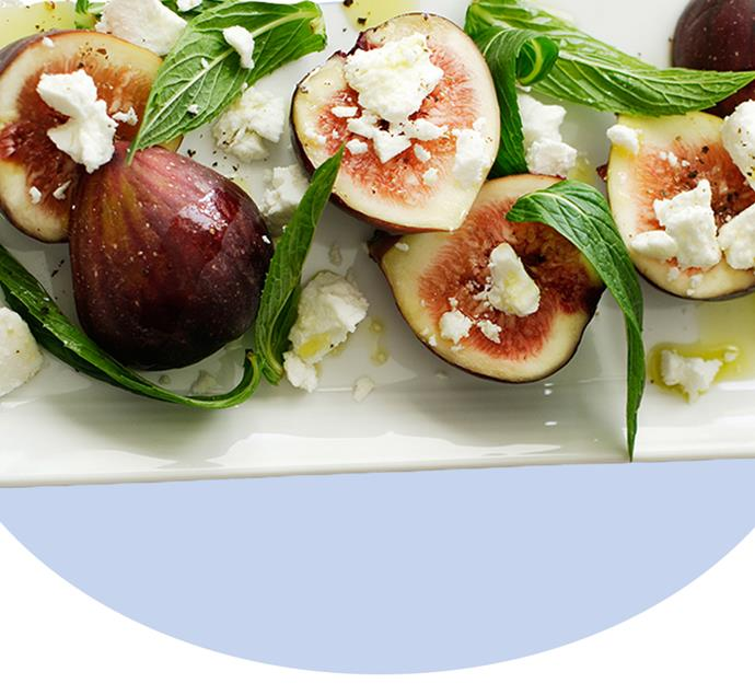 "BBQ night? Fresh mint gives sweet fig and rich fetta a sapid kick in this four-ingredient summertime sensation. View the recipe [here](http://www.foodtolove.com.au/recipes/fig-feta-and-mint-salad-14240|target=""_blank"")."