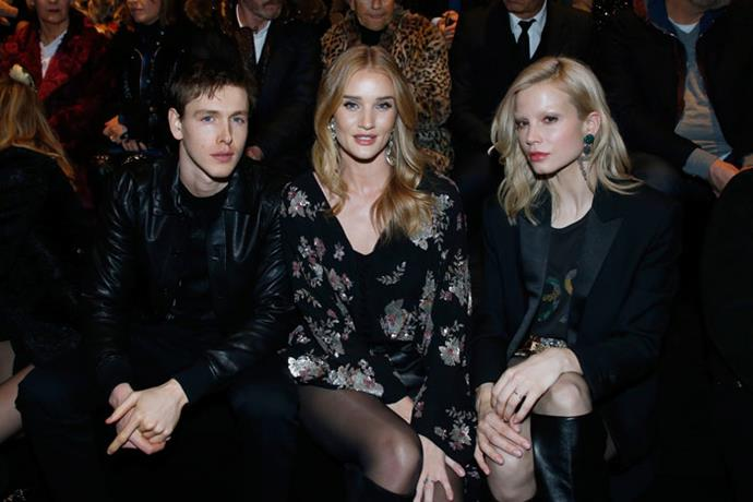 Sebastian Akchote, Rosie Huntington-Whiteley and guest front row at Saint Laurent autumn/winter '18