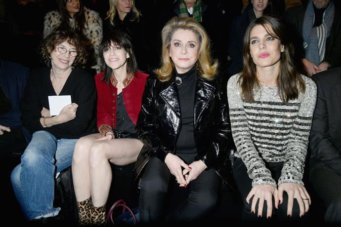 Jane Birkin, Charlotte Gainsbourg, Catherine Deneuve and Charlotte Casiraghi front row at Saint Laurent autumn/winter '18