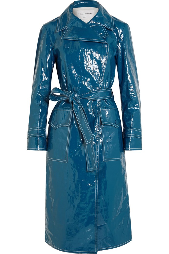 """**Buy:** Trench coat by Sonia Rykiel, $1,674 at [Net-a-Porter](https://www.net-a-porter.com/au/en/product/1006163/Sonia_Rykiel/belted-crinkled-vinyl-trench-coat