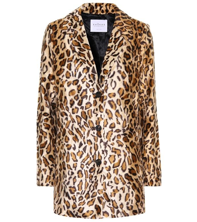 "**Buy**: Coat by Velvet, $435 at [Mytheresa](https://www.mytheresa.com/en-au/velvet-celine-faux-fur-blazer-880123.html|target=""_blank""|rel=""nofollow"")<br> Blazer by Frame, $474 at [Nordstrom](https://shop.nordstrom.com/s/frame-cheetah-classic-velvet-blazer/4685450?pathAlias=frame-cheetah-classic-velvet-blazer&%3Fcm_mmc=Linkshare-_-partner-_-10-_-1&siteId=TnL5HPStwNw-LKKCHR2FCLOA4bVFwJ5iNQ|target=""_blank""|rel=""nofollow"")<br> Trousers by Frame, $330 at [Nordstrom](https://shop.nordstrom.com/s/frame-cheetah-print-velvet-crop-flare-pants/4698954|target=""_blank""|rel=""nofollow"")"