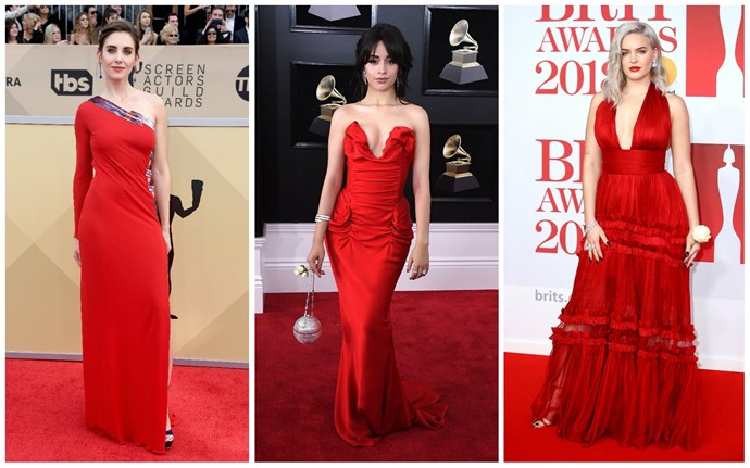 Alison Brie in Dundas; Camila Cabello in Vivienne Westwood; Anne-Marie in Pheobe Lettice.