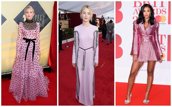 Kate Hudson in Valentino; Saoirse Ronan in Louis Vuitton; Maya Jama in Henry Holland.