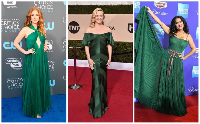 Jessica Chastain in Vionnet; Reese Witherspoon in Zac Posen; Salma Hayek in Gucci.