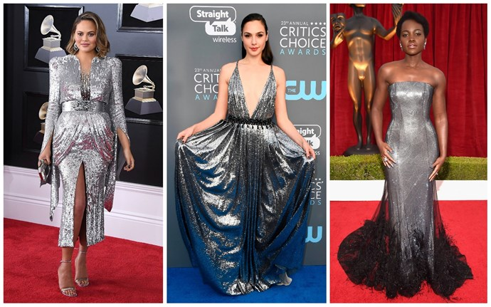 Chrissy Teigen in Yanina Couture; Gal Gadot in Prada; Lupita Nyong'o in Ralph & Russo.