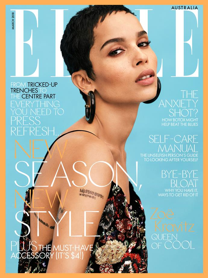 The March issue of ELLE Australia starring Zoe is on stands now.