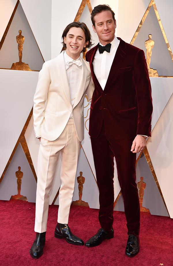 Timothée Chalamet and Armie Hammer in Armani