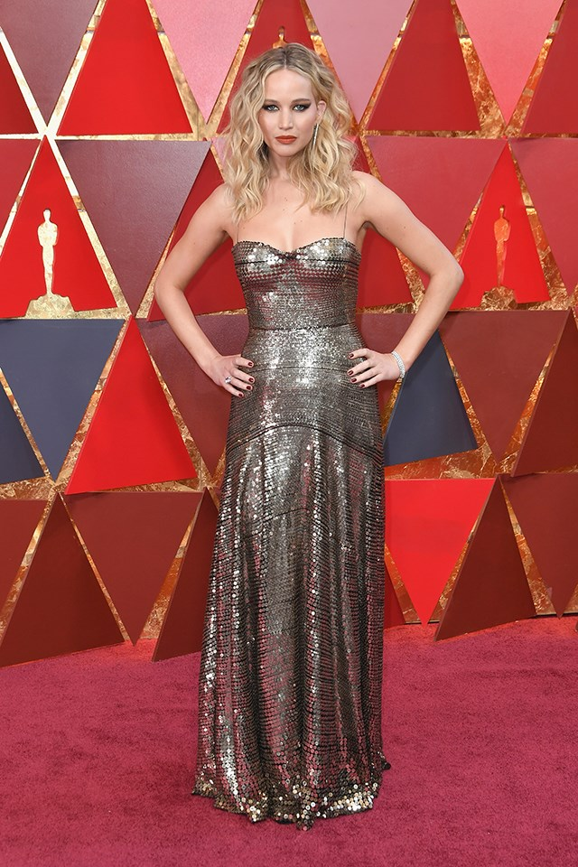 Jennifer Lawrence wearing Dior at the 2018 Oscars.
