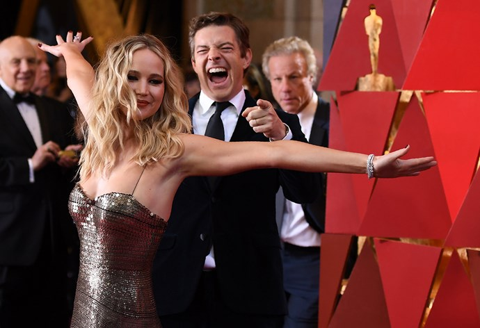 Jennifer Lawrence on the red carpet at the 2018 Oscars.