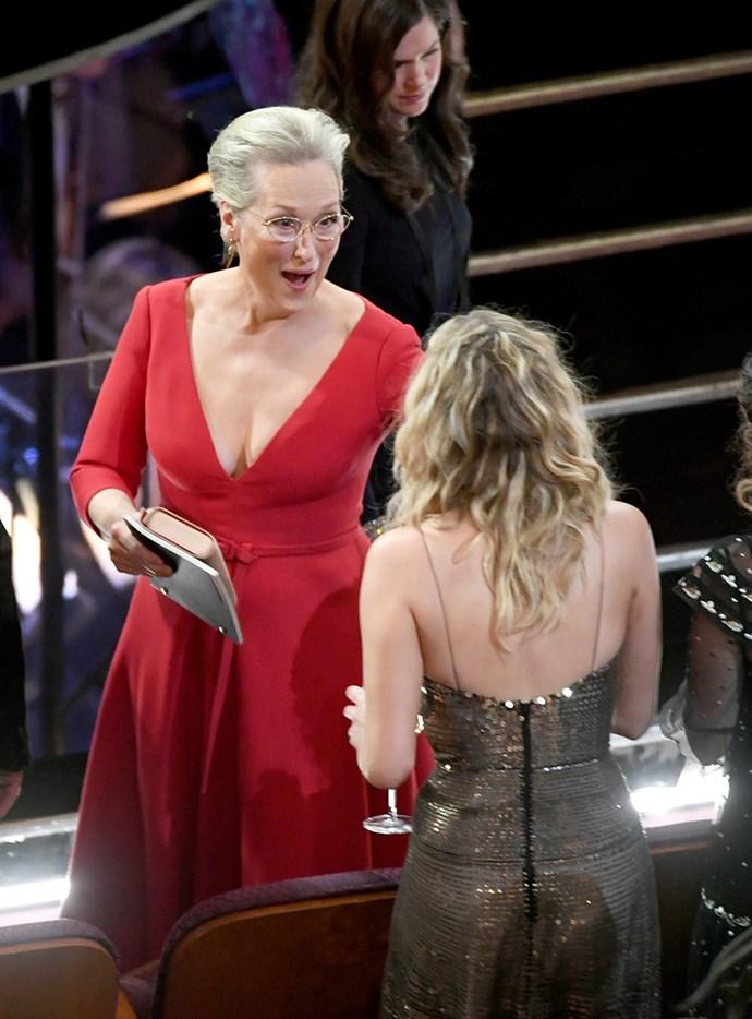 Jennifer Lawrence and Meryl Streep at the 2018 Oscars.