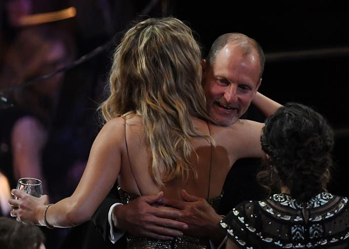 Jennifer Lawrence and Woody Harrelson at the 2018 Oscars.